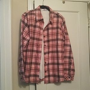 Pink and brown plaid flannel button-down